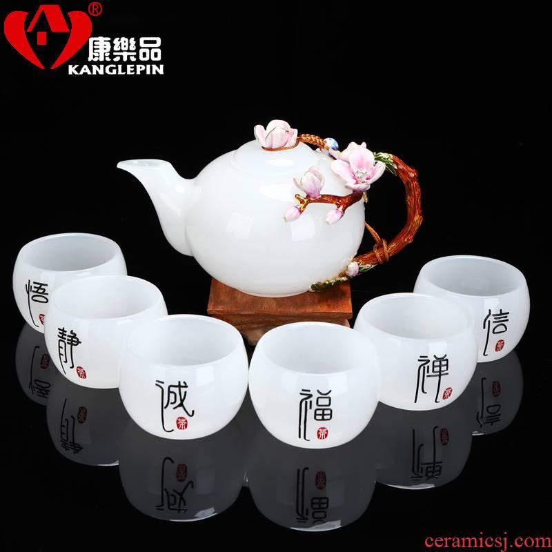 Recreational products a complete set of tea set jade porcelain enamel household office suit dehua white porcelain teapot kung fu tea set