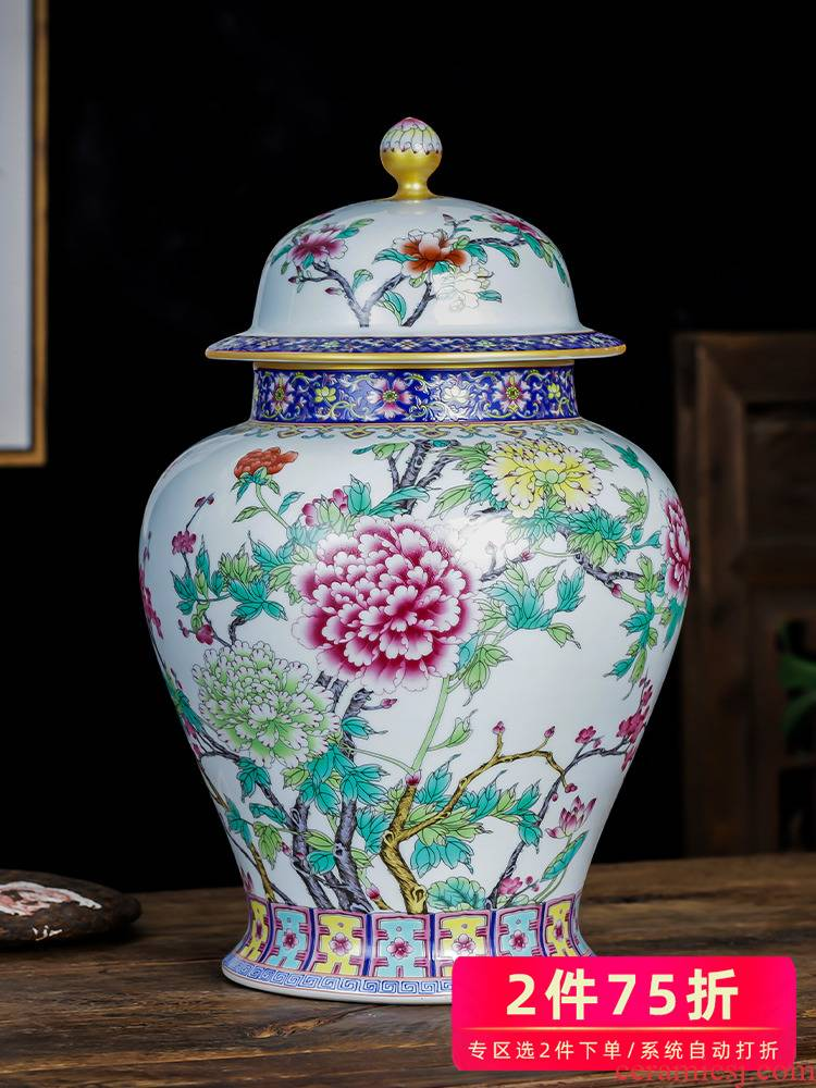 Jingdezhen ceramics caddy fixings large colored enamel high - capacity archaize puer tea storage jar restoring ancient ways