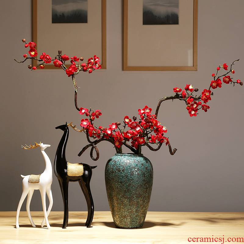 Jingdezhen modern new Chinese checking porcelain ceramic vase TV ark, sitting room porch home furnishing articles