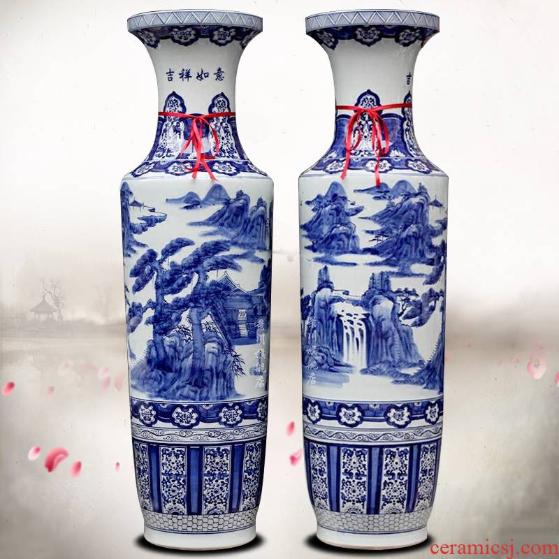 Blue and white landscape of large Blue and white porcelain of jingdezhen ceramics hand - made archaize admiralty vase hotel furnishing articles in the living room