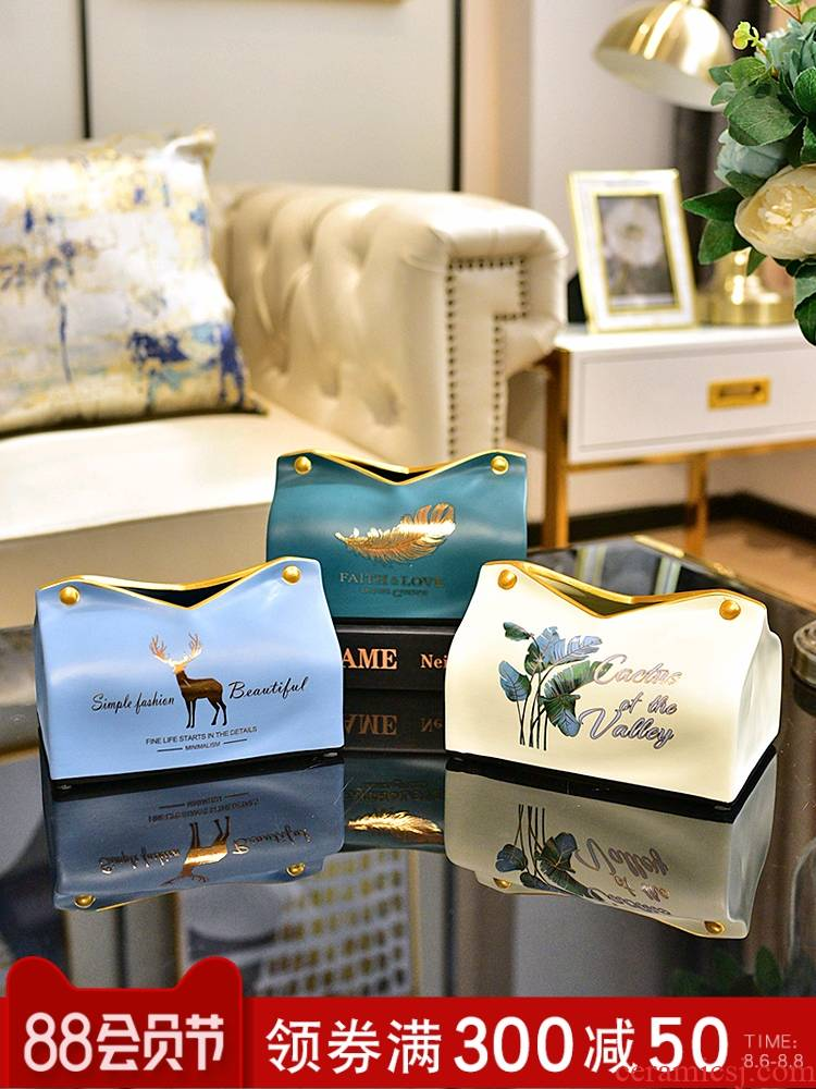Light much creative ceramic tissue box smoke box American household I sitting room the bedroom of tea table napkin box of furnishing articles