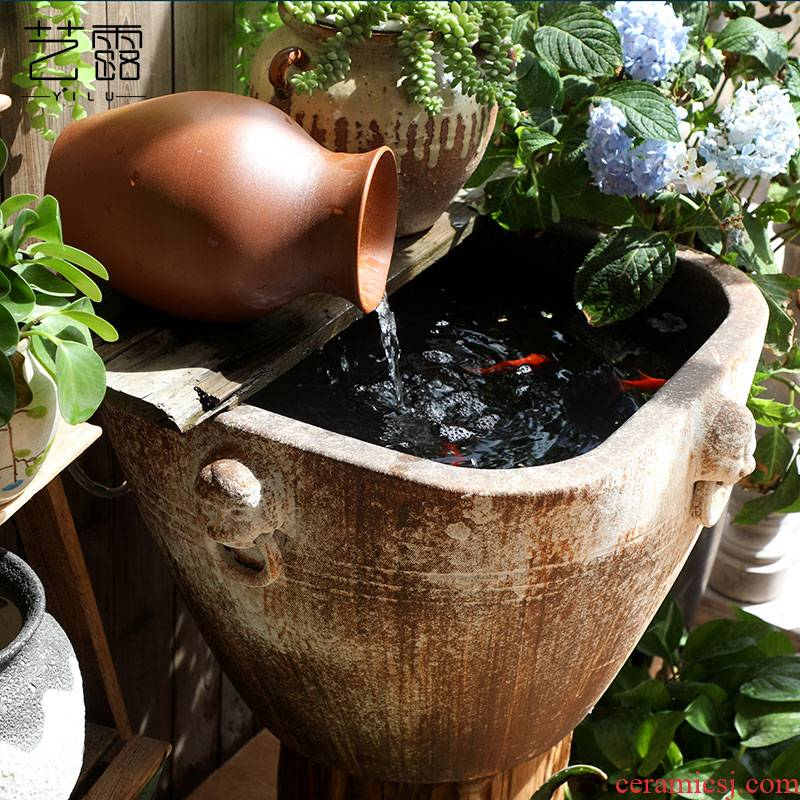 Restore ancient ways of archaize ceramic VAT coarse pottery hand round the altar square tank big flowerpot tank floor furnishing articles courtyard garden