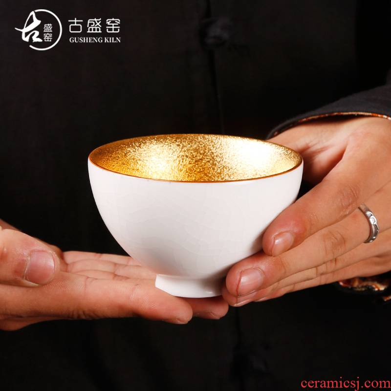 Ancient sheng up gold your up ceramic tea cup 24 k gold, kung fu tea master cup single CPU open for