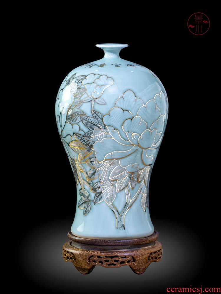Jingdezhen porcelain vases carved blue glaze hand - made paint home sitting room of new Chinese style flower adornment furnishing articles