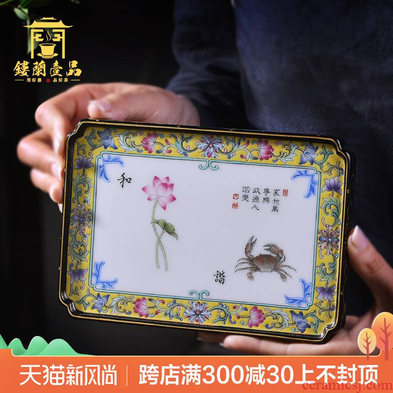 Jingdezhen ceramic all hand - made tea pets around branches decoration as hand porcelain plate furnishing articles cup pad cups tea tray