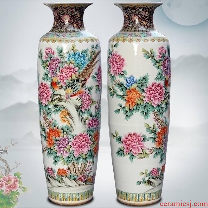 Jingdezhen ceramics powder enamel notes hall riches and honour of large vase home sitting room study office furnishing articles act the role ofing is tasted