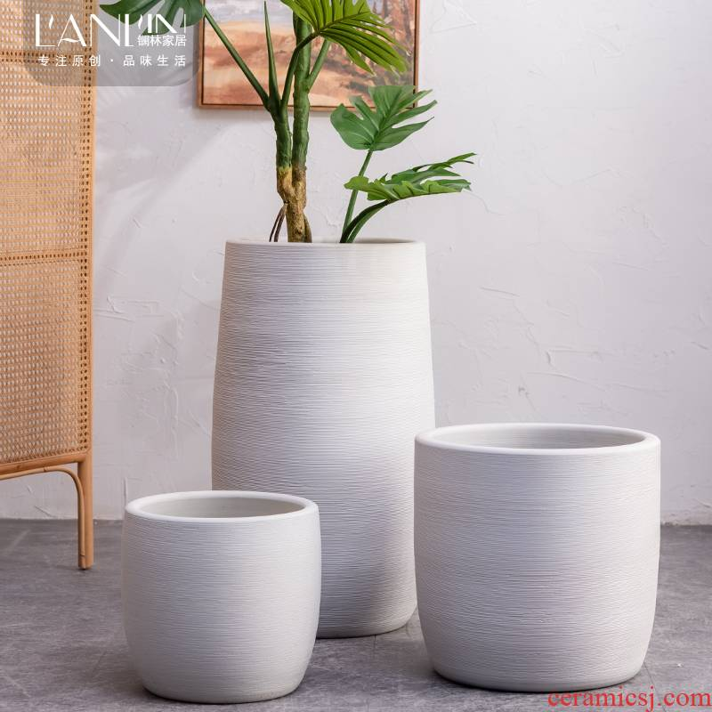 Nordic contracted green plant POTS household decorates sitting room of large diameter white furnishing articles of jingdezhen ceramic vase landing