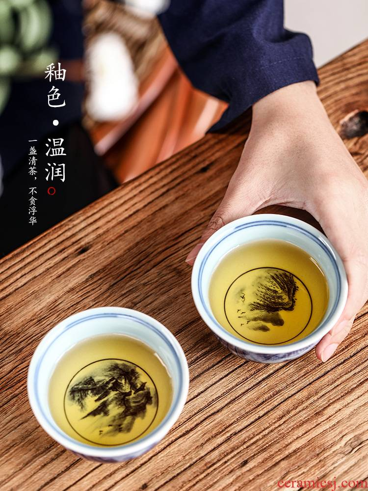 Jingdezhen blue and white master cup single cup pure manual hand - made ceramic kung fu sample tea cup landscape antique tea cups
