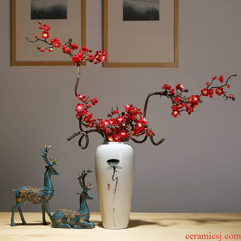 Jingdezhen ceramics craft vase, I and contracted household vase TV ark, new Chinese style porch vase furnishing articles