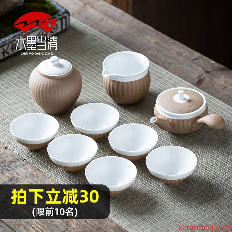 Japanese coarse pottery kung fu tea set suit pure manual lateral teapot teacup restoring ancient ways of household ceramics with high - end gift box