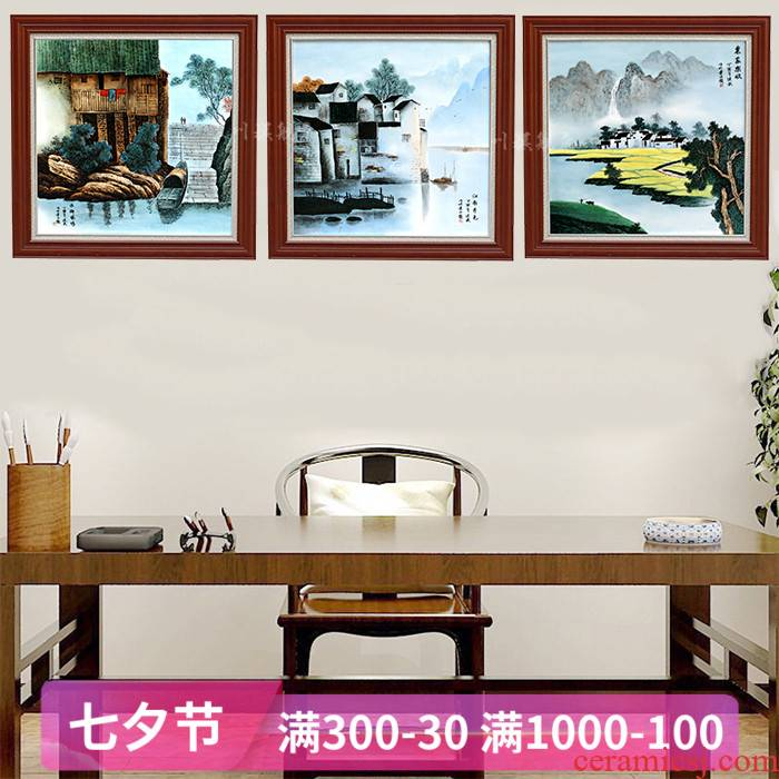 Hand - made jiangnan xiuse ceramic painting jingdezhen porcelain plate painting the living room a study sofa setting wall adornment that hang a picture