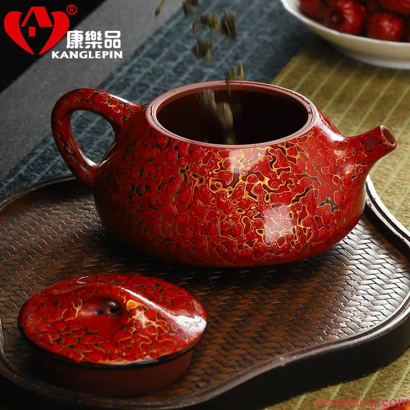 Recreational product violet arenaceous lacquer teapot tea set all hand famous kung fu home stone gourd ladle pot of tea sets tea pot