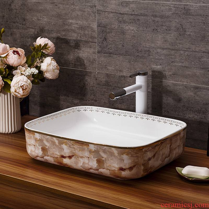 Ceramic art on the stage basin fangyuan form the basin that wash a toilet lavabo, Europe type restoring ancient ways in marble sinks basin