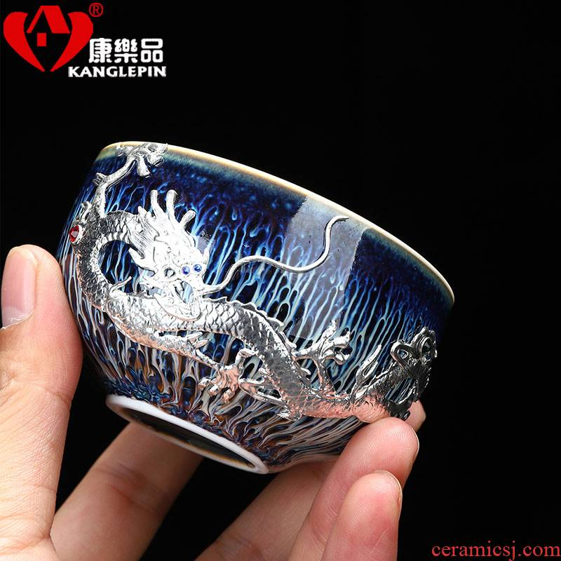 Recreational product silver Long Yao get built light ceramic cups household kung fu tea cup masters cup drawing, sample tea cup