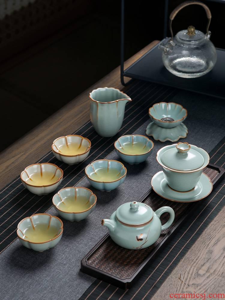 Your up crack kung fu tea set home sitting room open piece of jingdezhen ceramic lid bowl of tea cups