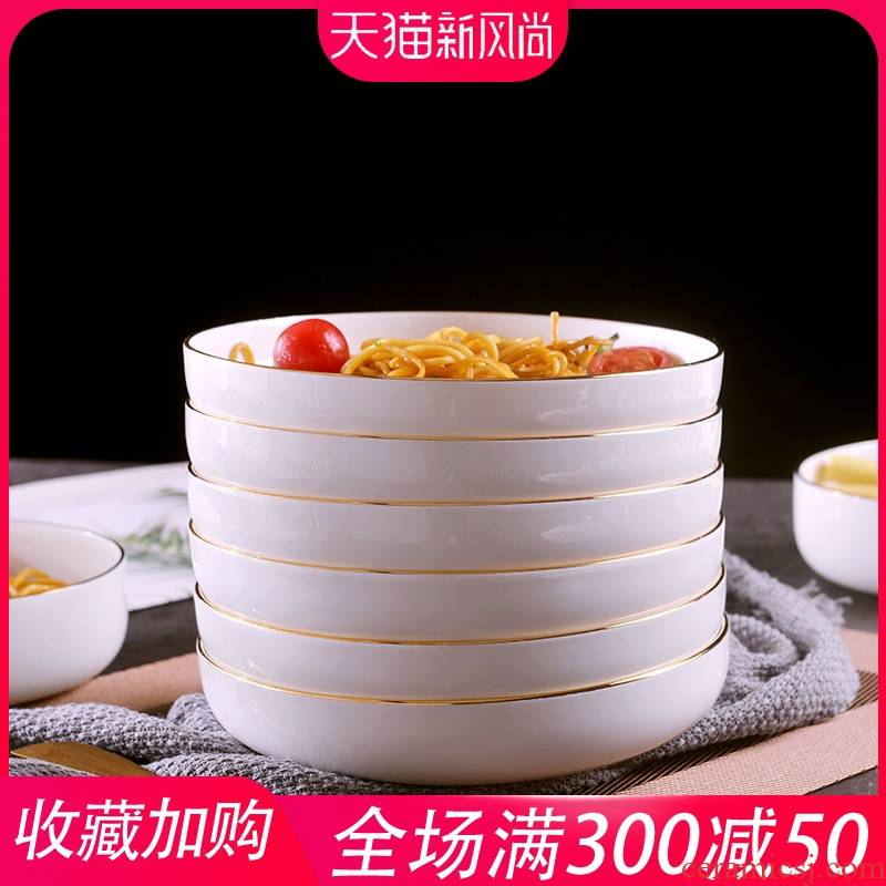 European - style checking gold 】 【 creative household up phnom penh dish suits for soup dish plate ceramic round plate of the six