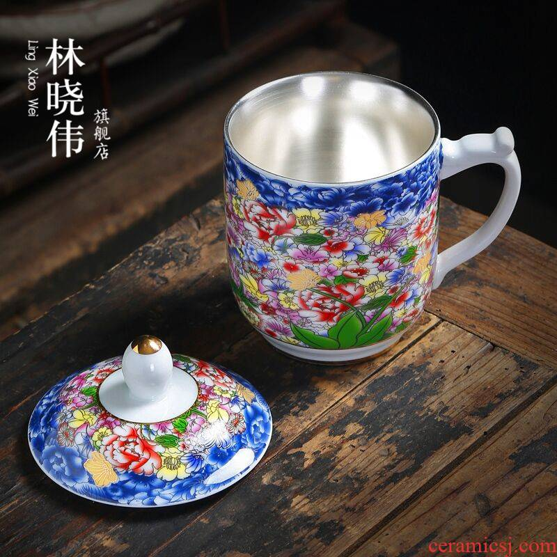 Jingdezhen porcelain enamel coppering. As silver cup 999 sterling silver mark cup with cover glass office master CPU