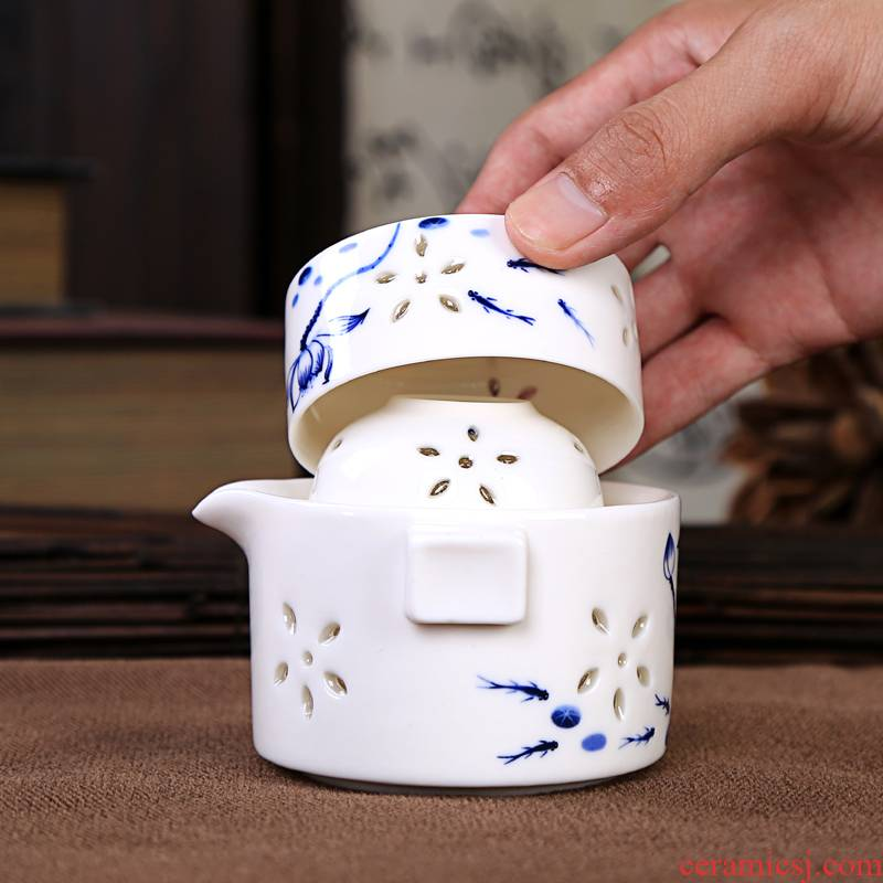 New ceramic crack pot a pot of two travel two cups of hollow out and exquisite portable kung fu tea set office