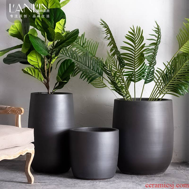 Ceramic POTS Nordic contracted sitting room, indoor green plant adornment bedroom place large clearance black floor vase