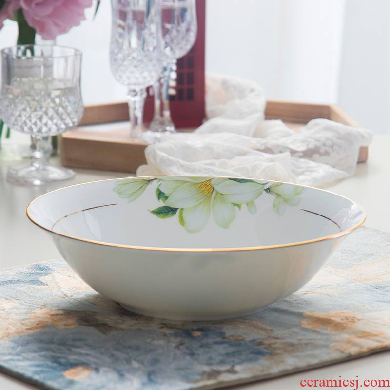 The embroider The 9 # 8 inches large ceramic bowl with big bowl pull rainbow such as bowl malatang rainbow such as bowl of noodles mercifully ipads China