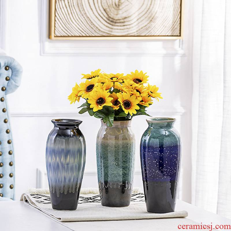 Light European - style key-2 luxury of new Chinese style living room TV cabinet ceramic vase modern furnishing articles dried flower flower arranging flower implement porch decoration
