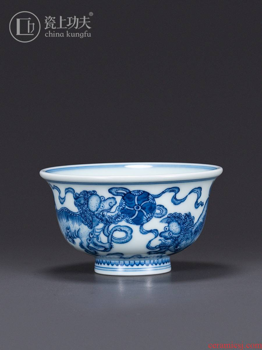 High - end porcelain of jingdezhen porcelain on kung fu master cup pressure hand cup manual hand - made teacup large view of the lesser