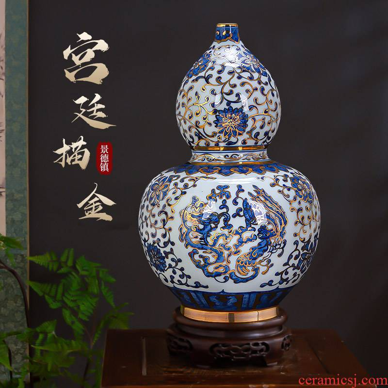 Jingdezhen ceramics high - grade household adornment see hand blue and white porcelain vase furnishing articles Chinese style restoring ancient ways the sitting room