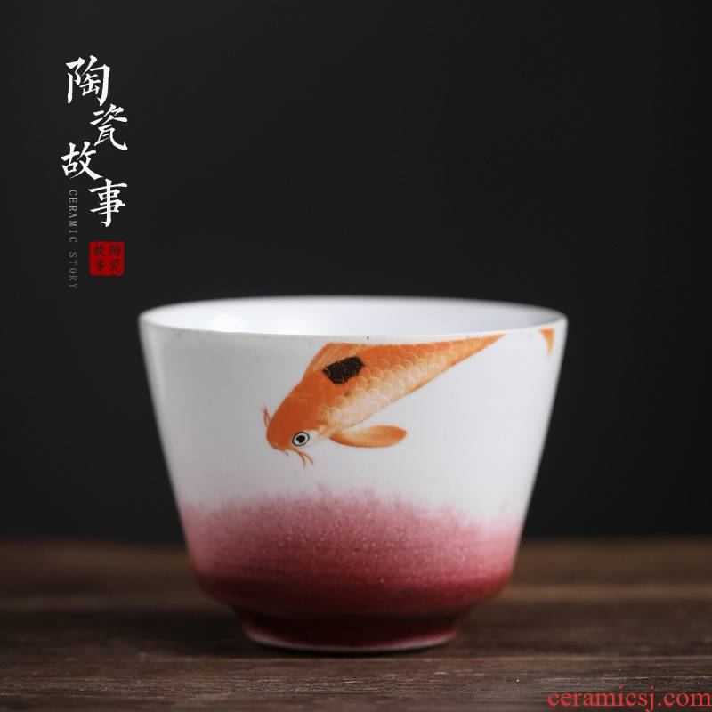 Ceramic story small tea cup, gift boxes kung fu tea bowl hand - made sample tea cup master cup single cup by hand