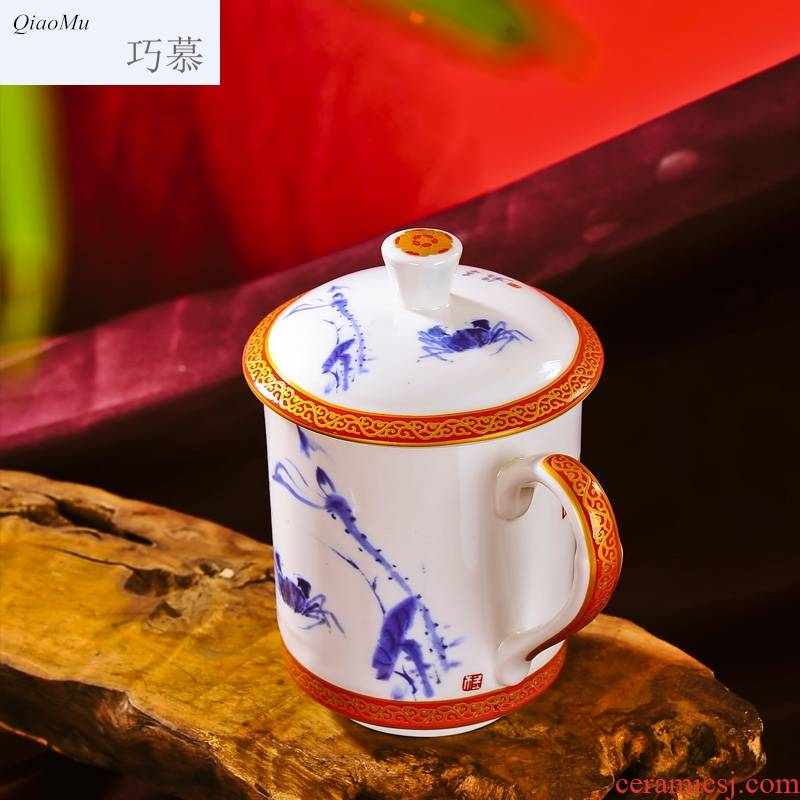 Qiao mu jingdezhen ceramic cups ipads porcelain cup meeting office cup with cover cup gift box packaging