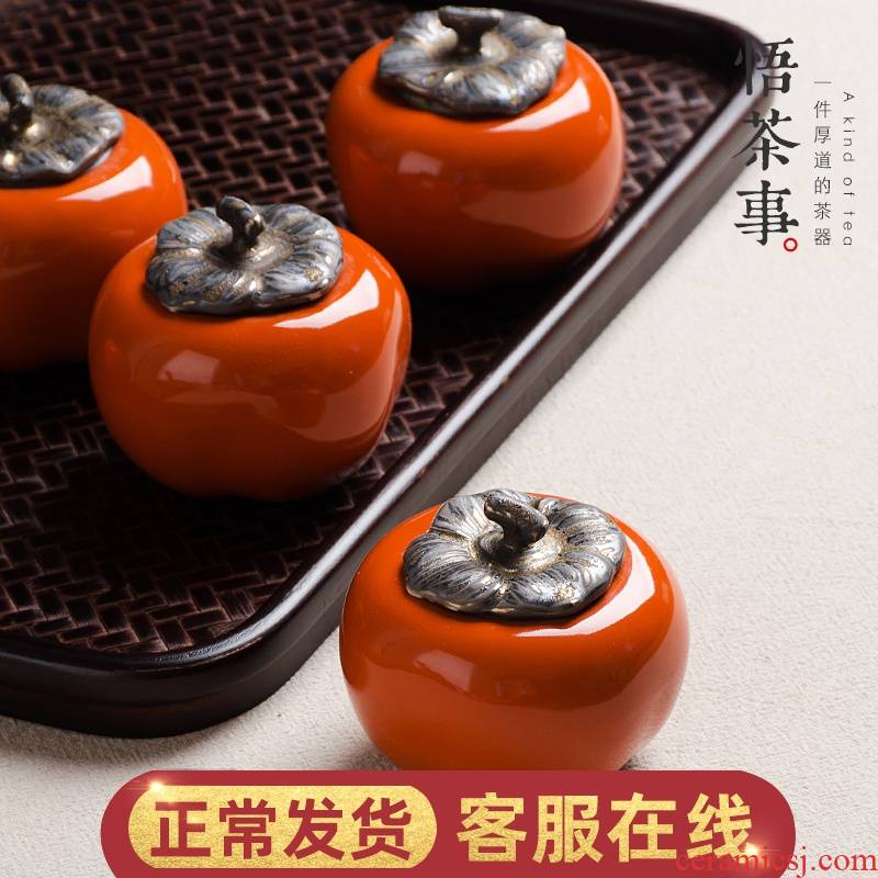 W poly real scene ceramic persimmon in portable tea caddy fixings good seal tank storage jar moistureproof POTS
