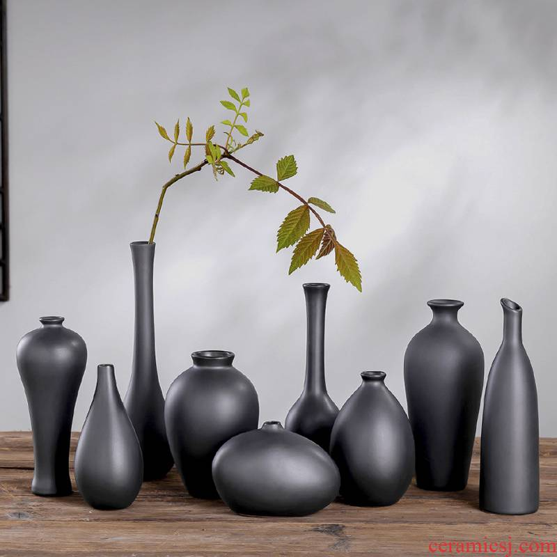 Zen ceramic vase sitting room place flower arranging new Chinese style mini black flowers, dried flowers, Japanese tea taking floral