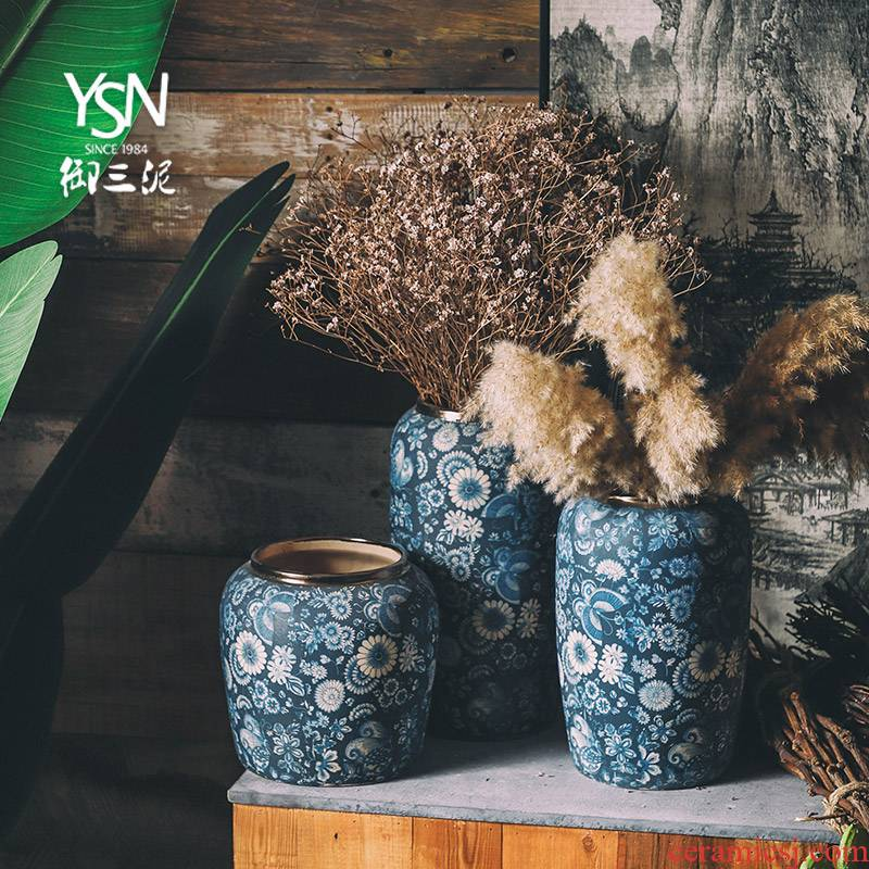Royal three mud jingdezhen ceramic light blue and white porcelain vases, flower arrangement sitting room furnishing articles zen the flower flower of key-2 luxury of new Chinese style