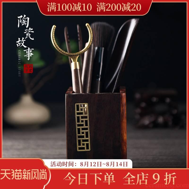 Ceramic tea story 6 gentleman suit ebony kung fu tea set of zen tea tool ChaGa knife spoon