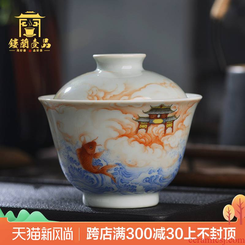 Jingdezhen ceramic famille rose leap by hand all three just two just tureen kung fu tea large bowl
