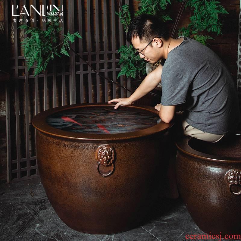 Jingdezhen ceramic VAT oversized flowerpot courtyard landscape furnishing articles fish old water basin of water lily cylinder