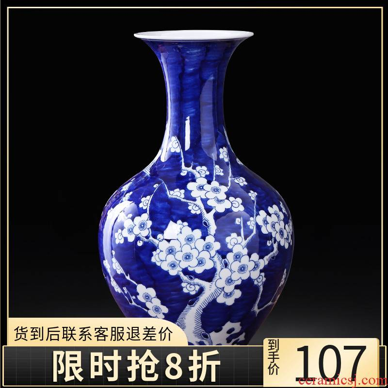 Jingdezhen ceramics hand - made antique blue and white porcelain vases, flower decoration of Chinese style household act the role ofing is tasted furnishing articles sitting room