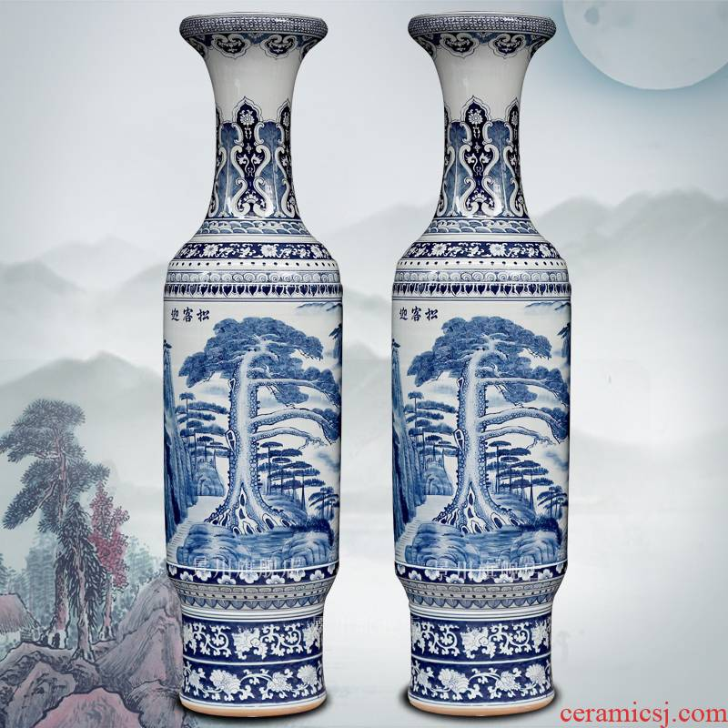 Blue and white porcelain jingdezhen ceramics of large vase archaize guest - the greeting pine sitting room place hotel decoration