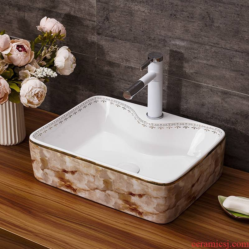 Jingdezhen ceramic stage basin square continental basin of I and contracted marble art bathroom sinks