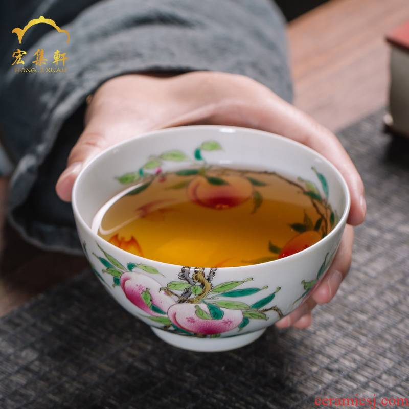 The Master cup cup single pure manual colored enamel glass ceramic cup tea sample tea cup, perfectly playable cup tea hand - made of peaches