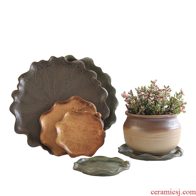 Pot chassis round tray ceramic creative lotus leaf the plants ceramics in tuba basin water pans, fleshy pad tray