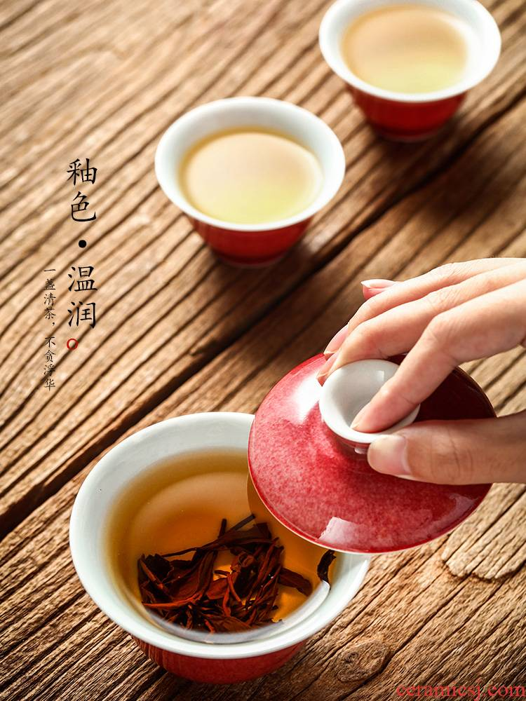 Jingdezhen tea is tea tureen tea cups a single small bowl of household of Chinese style not hot kung fu tea set cowpea red