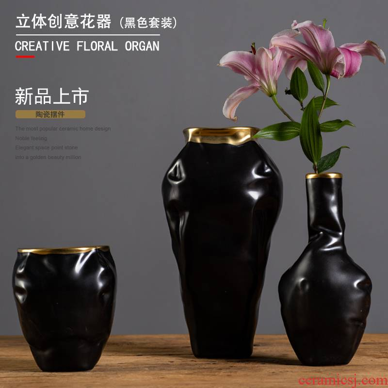 Up Phnom penh 3 d alien home furnishing articles flowers in black and white and double color suit light key-2 luxury ceramic flower flower arranging household act the role ofing is tasted