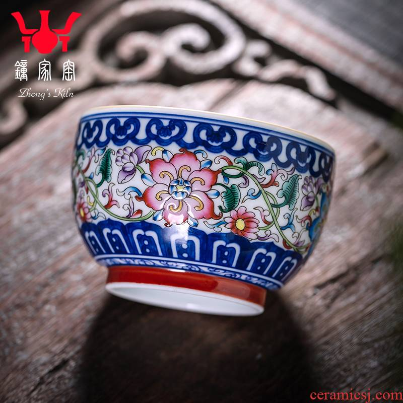 Clock home trade, one cup of jingdezhen blue and white enamel colors all hand pattern ceramic sample tea cup kung fu tea cups