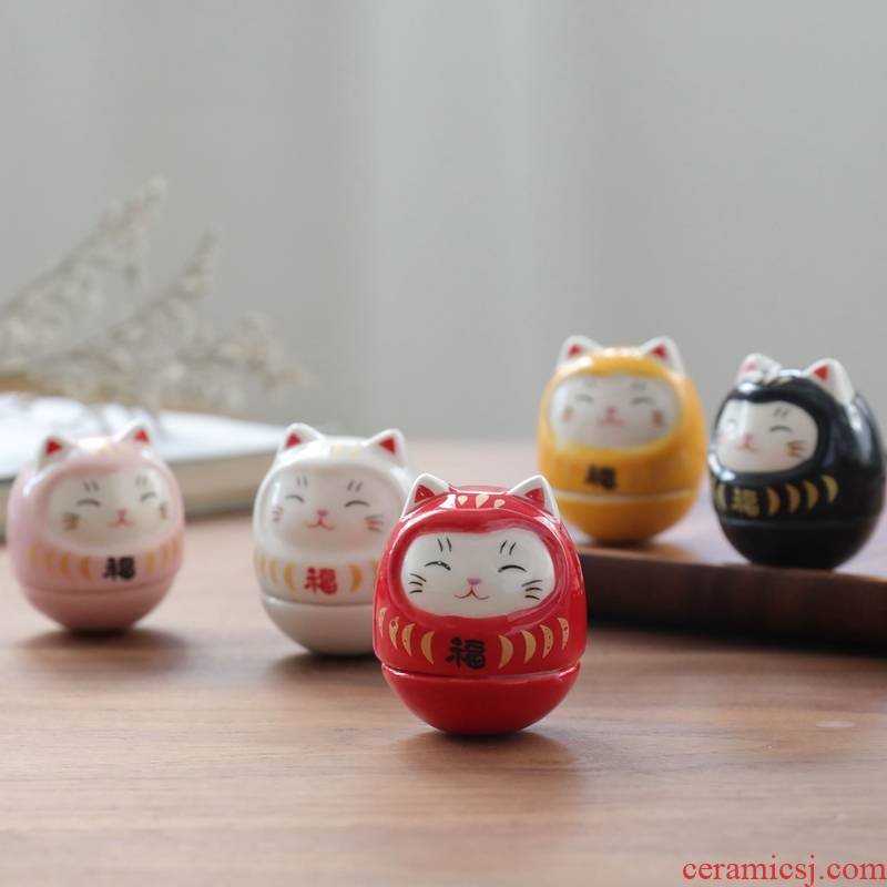 "Plutus cat furnishing articles desktop creative lovely birthday girl ceramic mini dharma ""daruma"" valentine 's day"