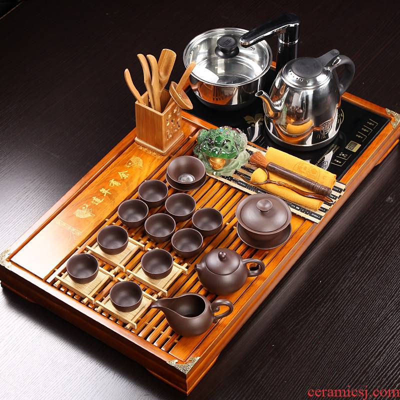 Ceramic cups suit kung fu tea set solid wood tea tray induction cooker snap one household contracted Chinese office