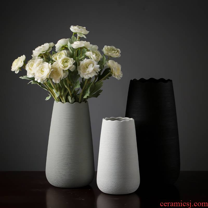 Nordic modern ceramic vase furnishing articles sitting room simulation flower arranging flowers, dried flowers to decorate the living room TV cabinet table accessories