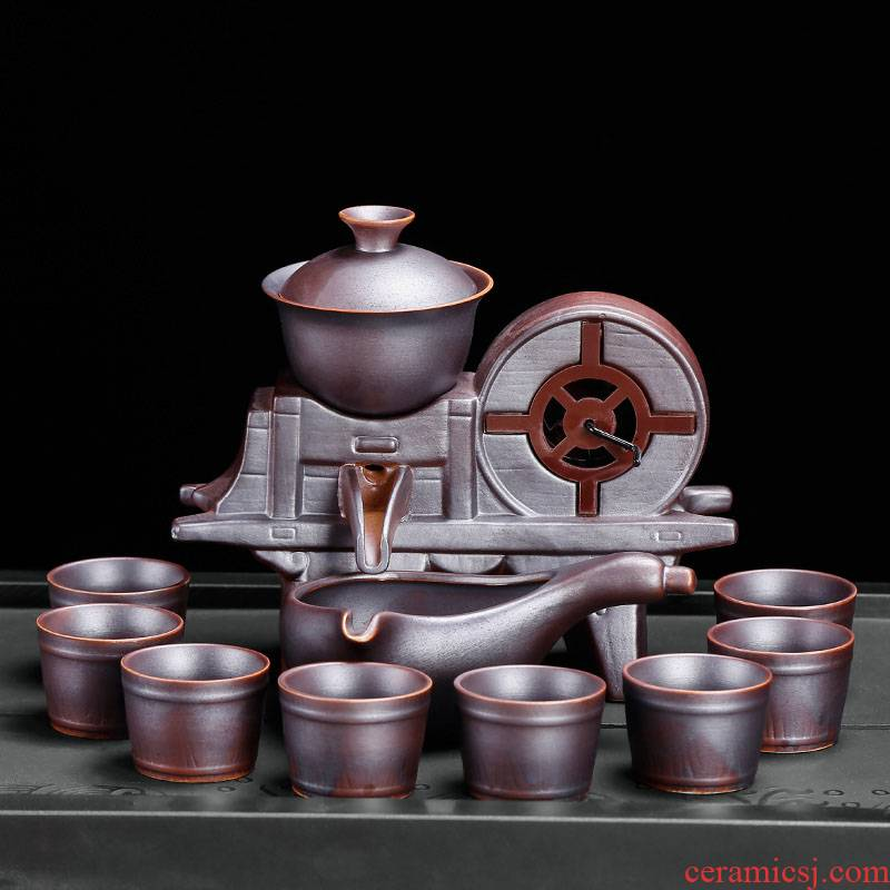 Lazy tea set domestic creative retro blunt tea is half automatic kung fu ceramic cups contracted the ironing