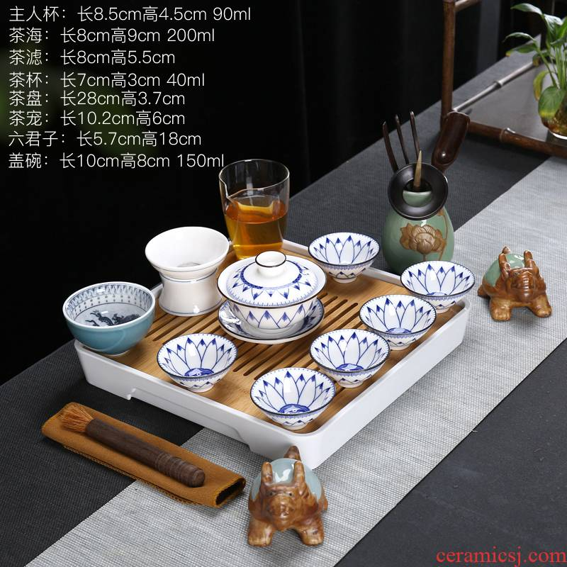 Blue and white porcelain tea sets tea tray household contracted kung fu tea set dehua suet jade porcelain teapot teacup set