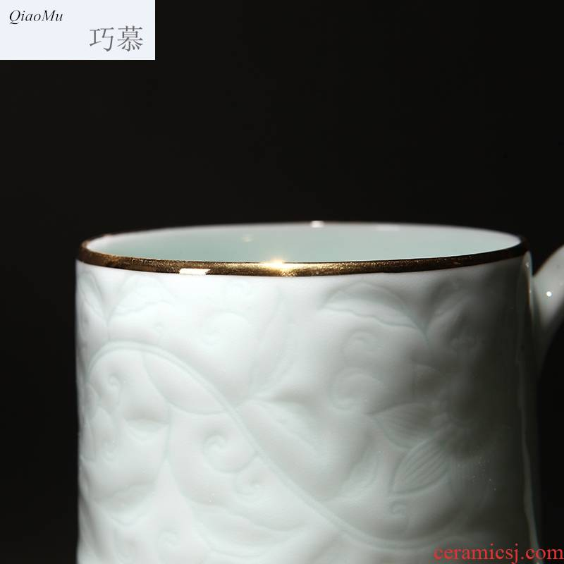 Qiao mu ceramic cups with cover cup boss cup office hand carved tea tea tea cup