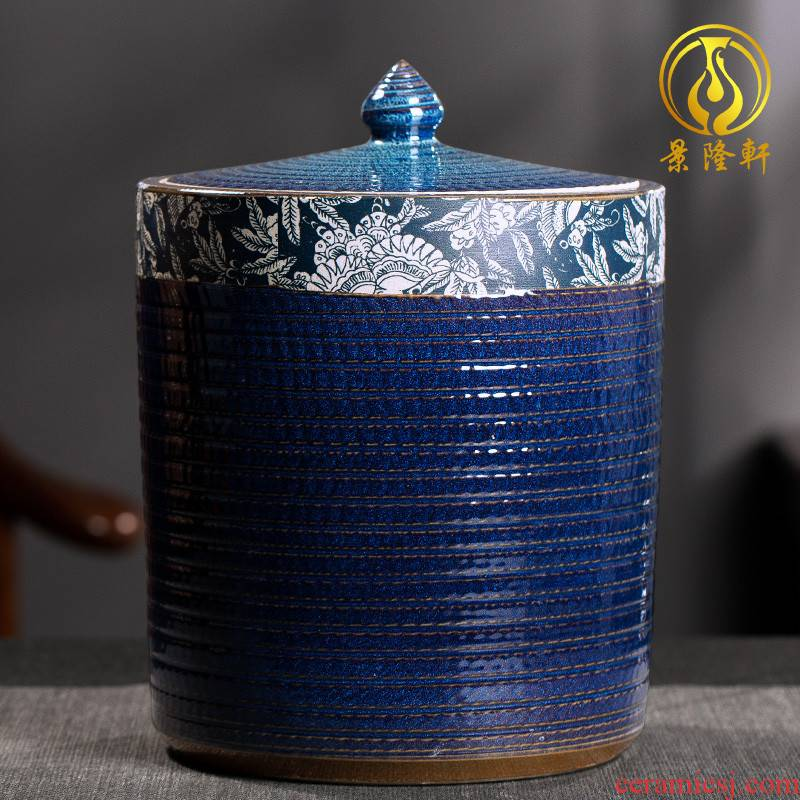 Coarse pottery retro bread seven pu 'er tea box wake receives stored sealed as cans of jingdezhen ceramic household storage tank